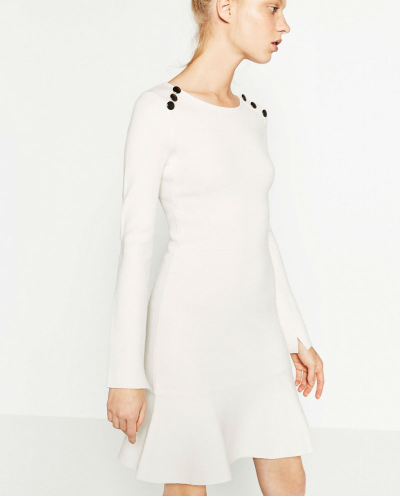 Zara white buttoned dress