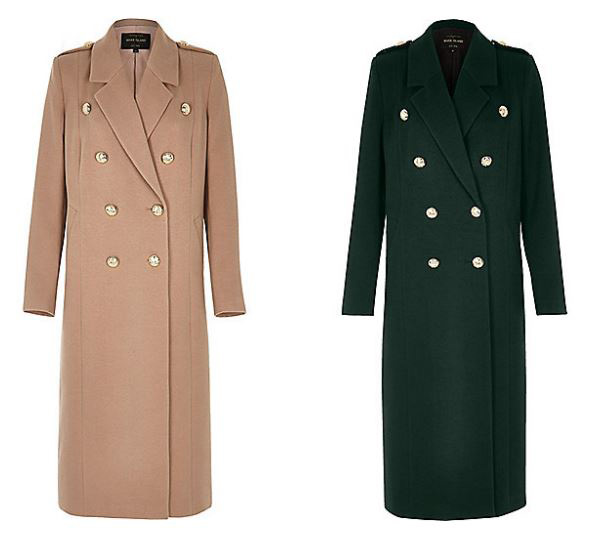 River Island military style peacoat