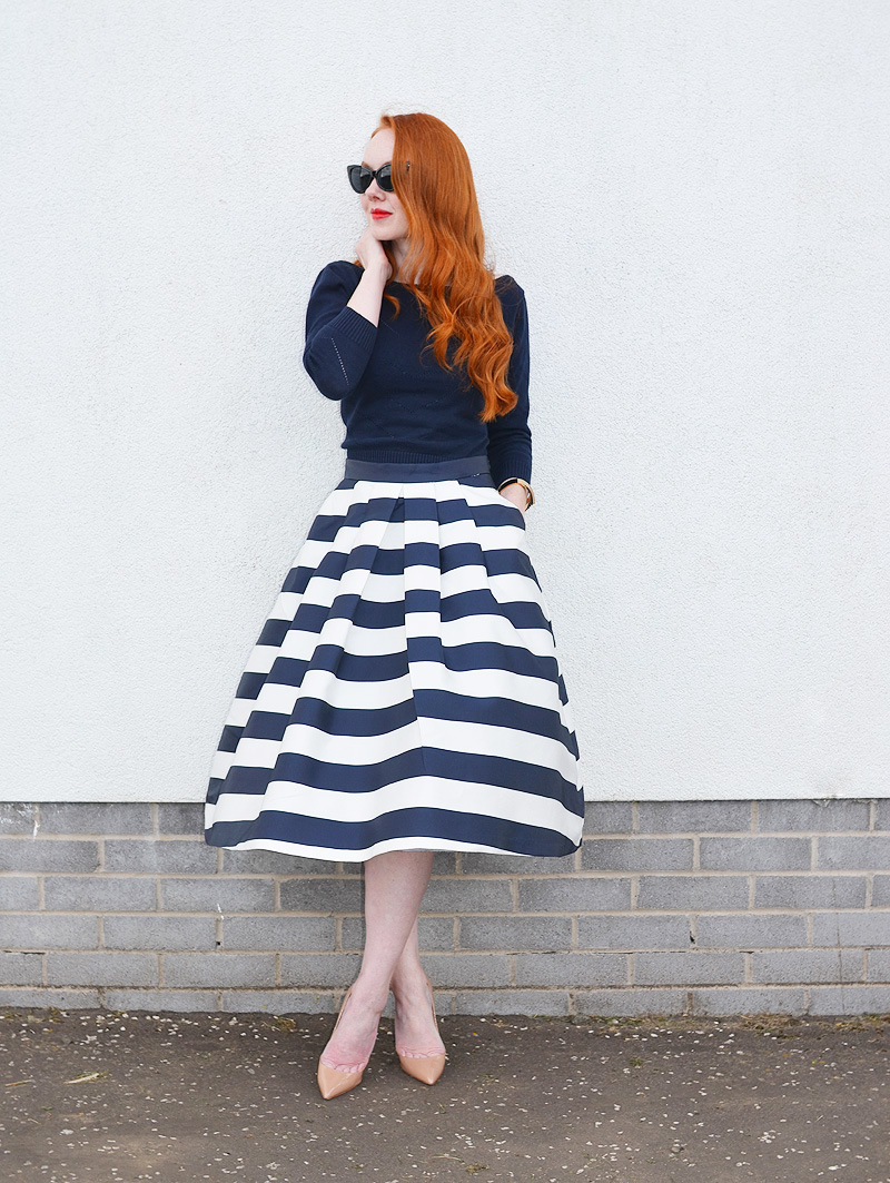navy stripe midi skirt