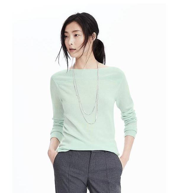 Wool Cashmere Ribbed Bateau Pullover