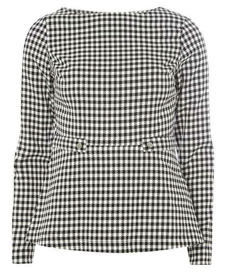 black and white houndstooth peplum top