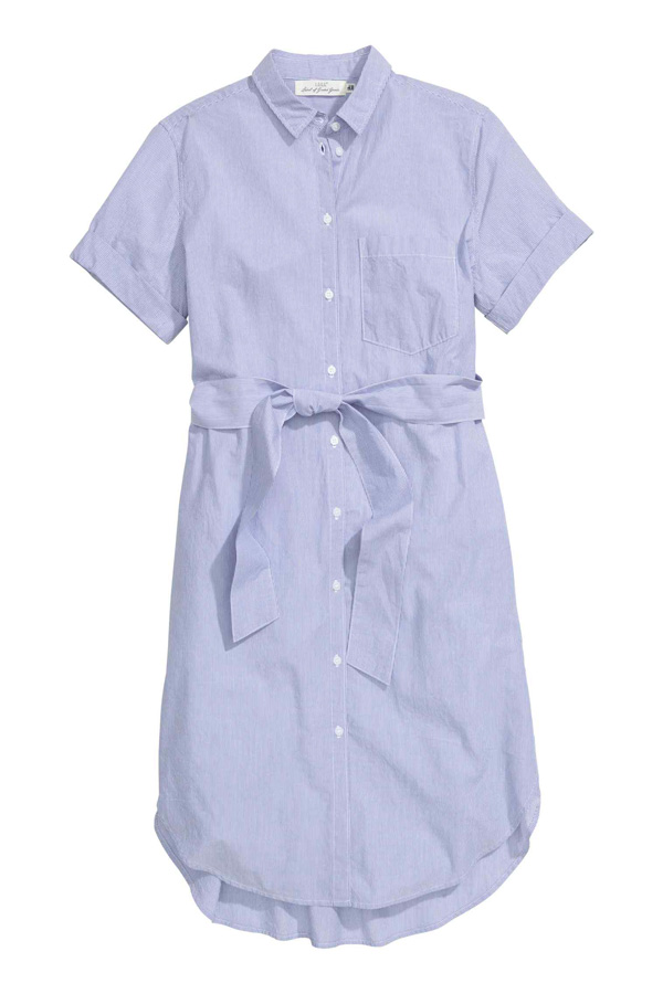 H&M blue stripe shirtdress