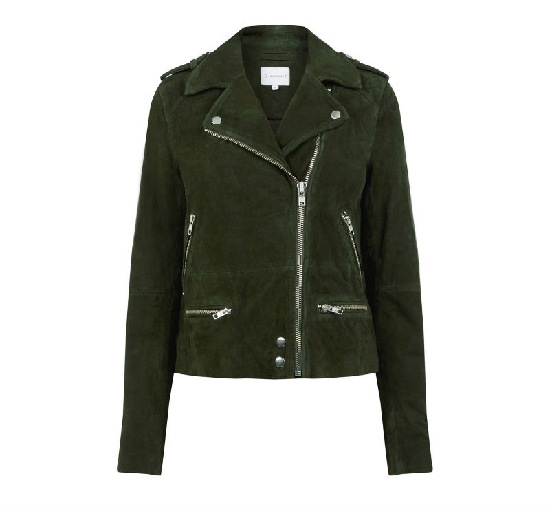 green suede biker jacket