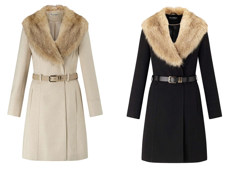 Miss Selfridge fur-collared coat