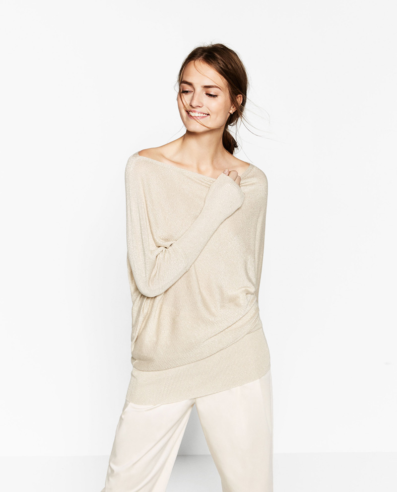 Zara gold asymmetric sweater