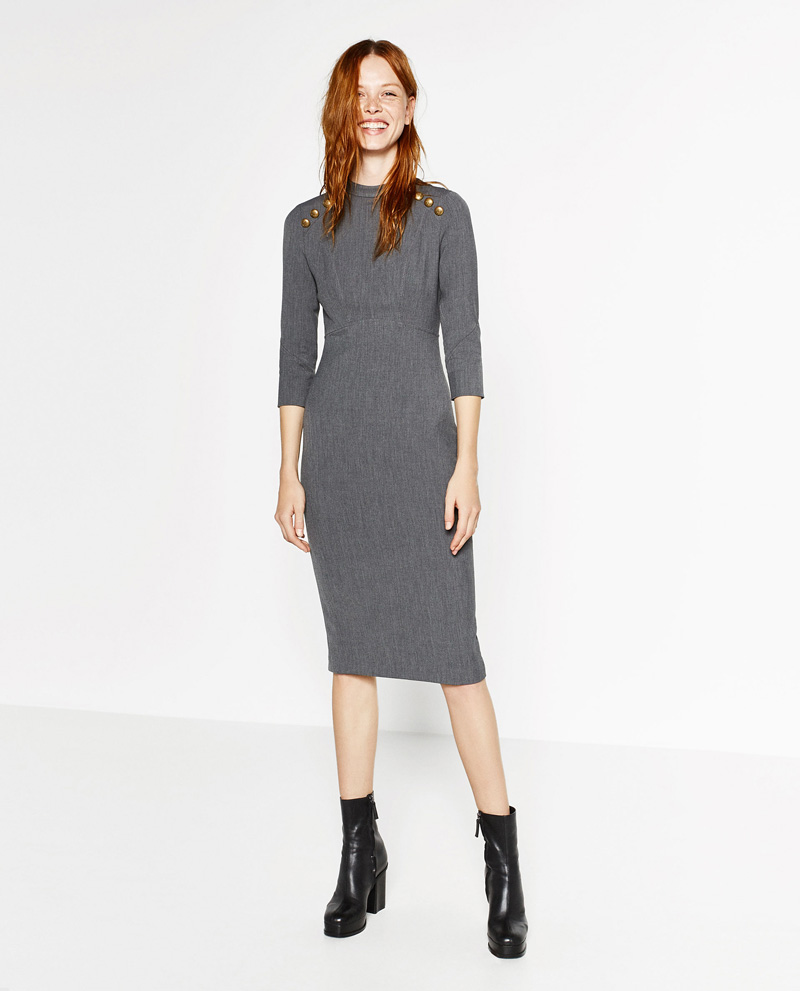 Zara buttoned tube dress