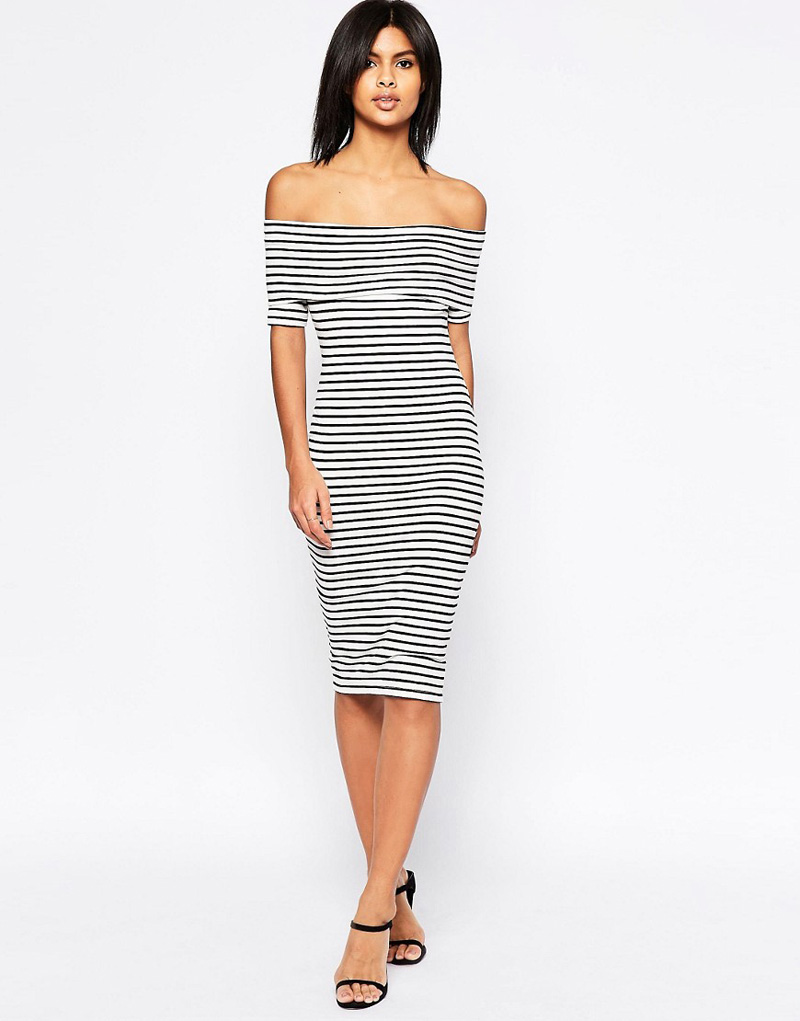 ASOS Midi Bardot Off Shoulder Dress in Stripe with Short Sleeve