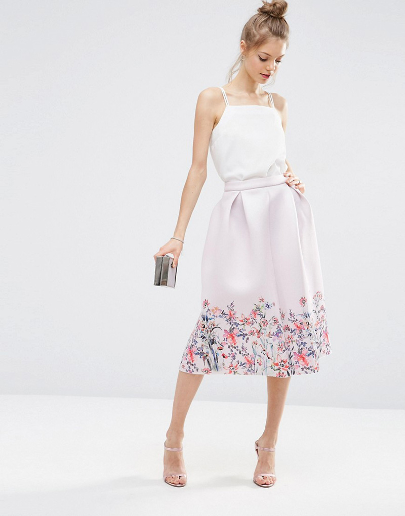 ASOS Scuba Prom Skirt with Floral Border Print