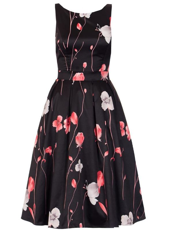 black and red flower print dress