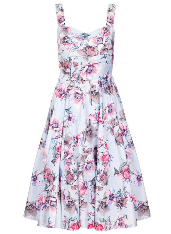 blue and pink flower print prom dress