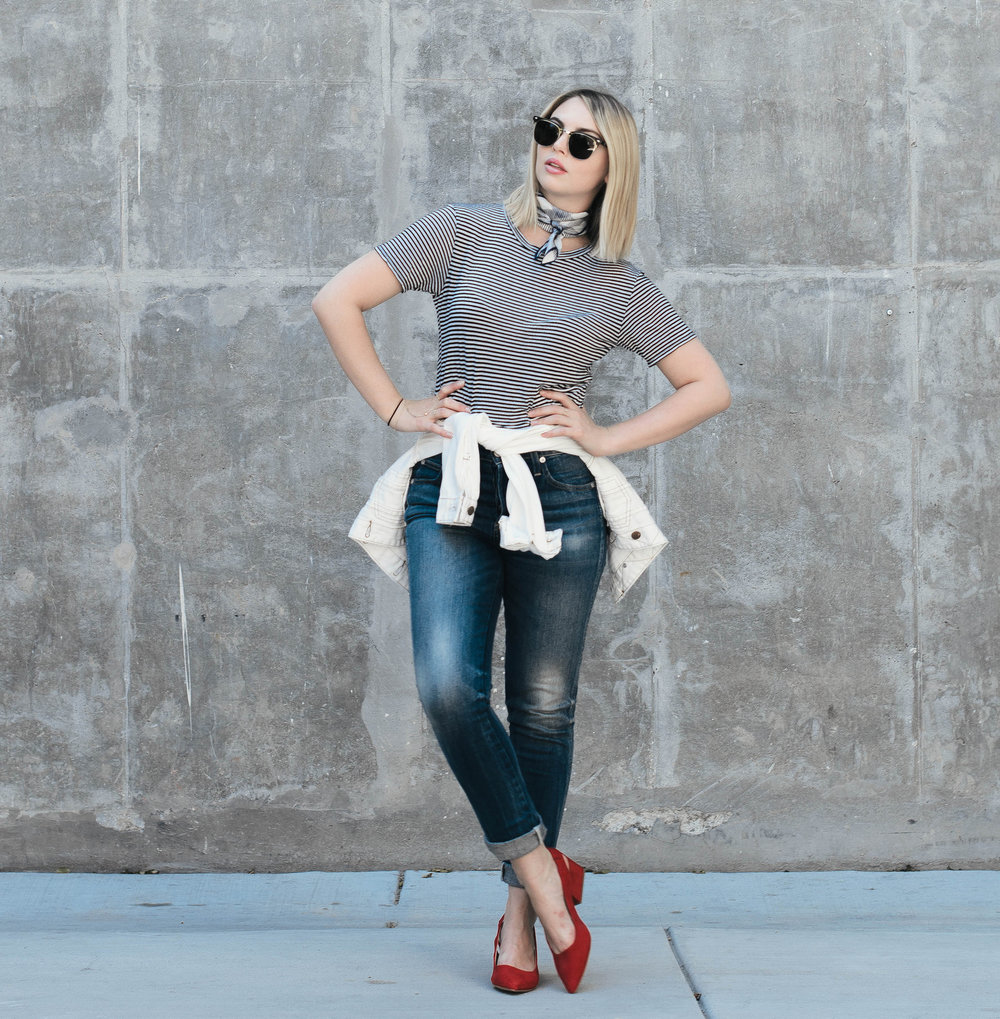 casual outfit featuring red shoes, blue jeans and a stripe top