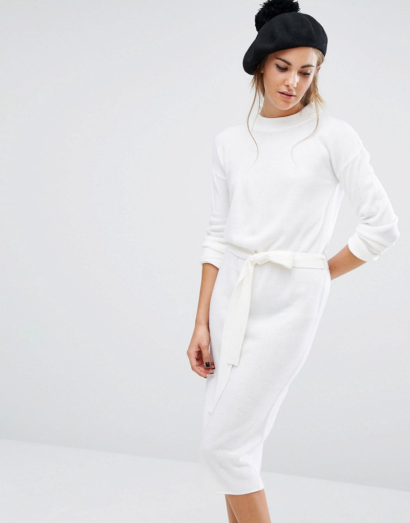 Fashion Union High Neck Knit Dress With Tie Up Waist