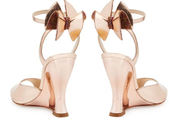Sophia Webster Rizzo Bow Metallic Wedge Sandals