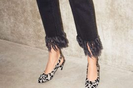 black fringe hem jeans with leopard print shoes
