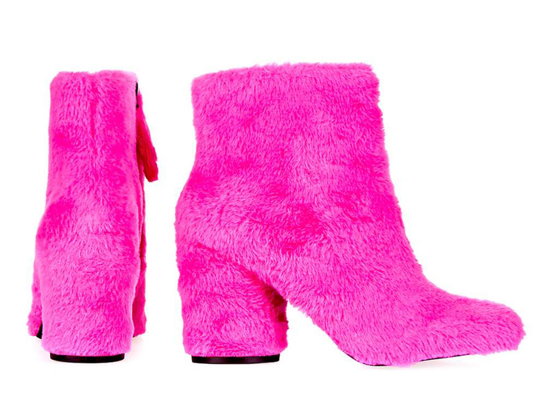 pink fur ankle boots