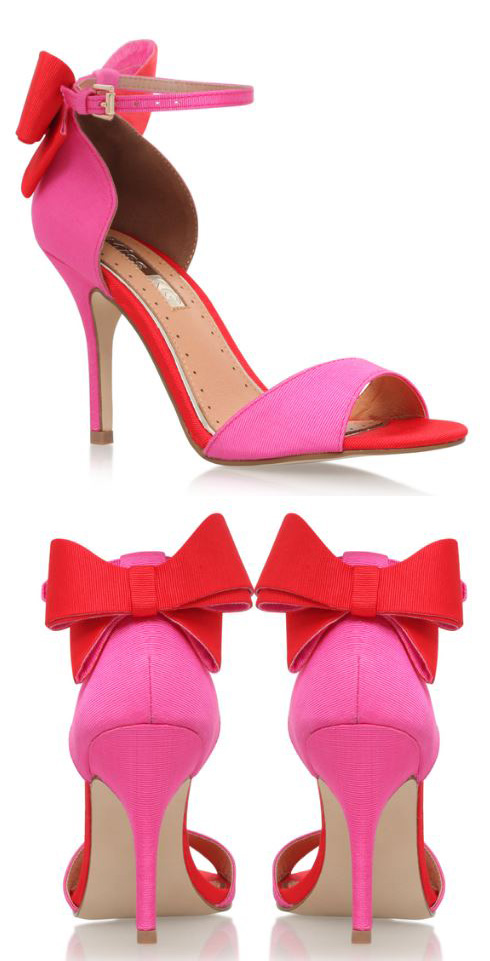 Kurt Geigr Gianna Pink high heel sandals with red bow on the heels