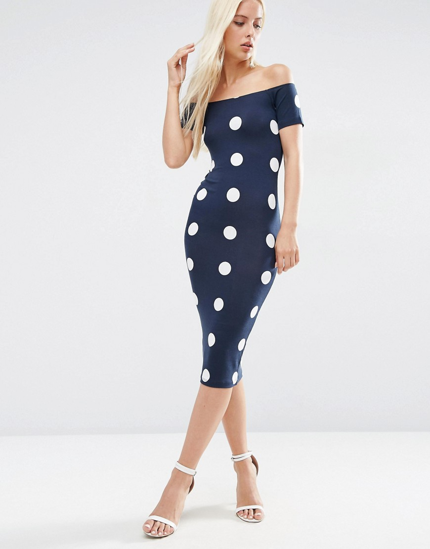 ASOS Spot Short Sleeve Off The Shoulder Bardot Midi Dress
