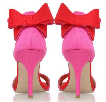 red bows on pink high heels