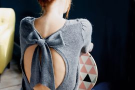 grey bow-back sweater