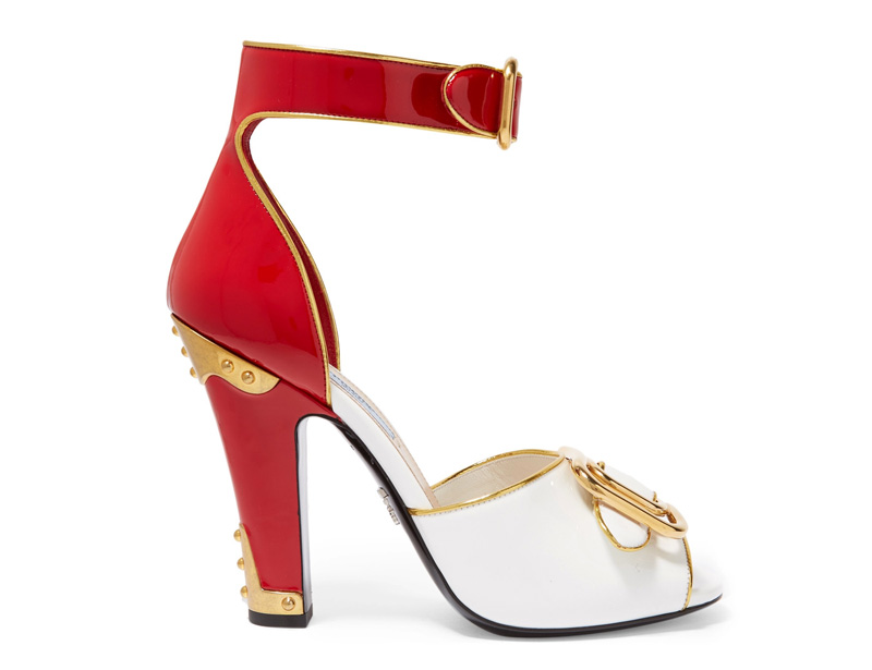 Prada embellished patent leather sandals