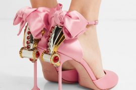 Miu Miu pink embellished satin pumps
