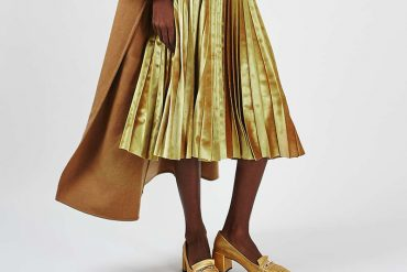 yellow pleated skirt