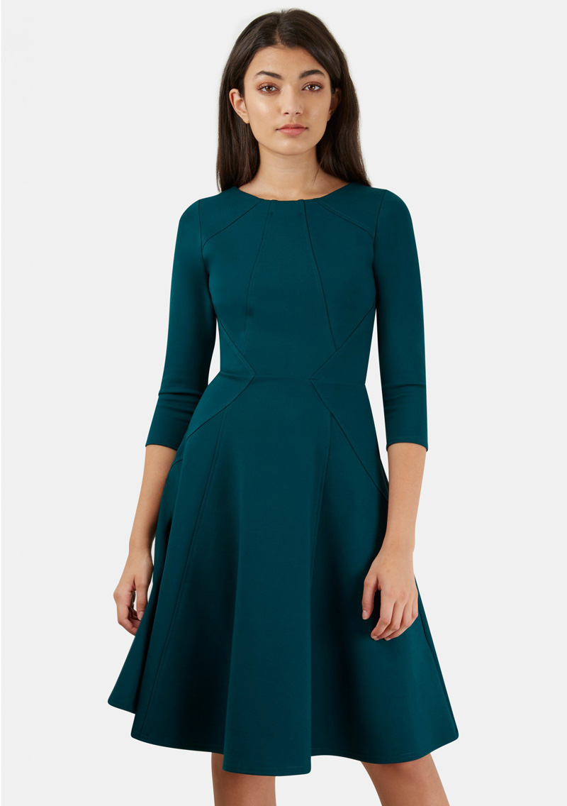 Closet London green fit and flare dress