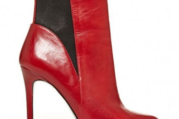 red high heeled ankle boots