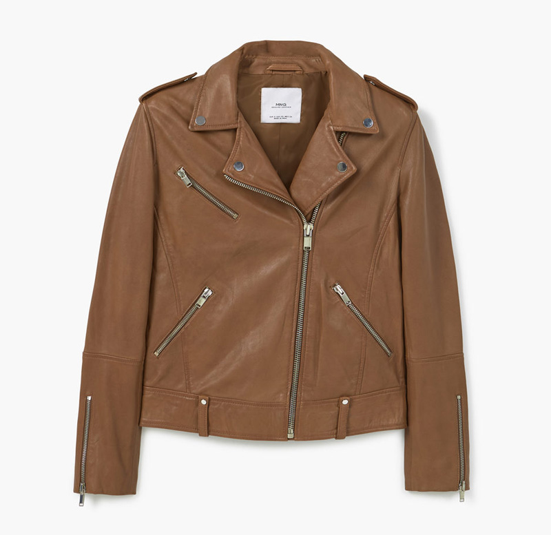 tan leather biker jacket