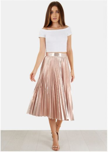 pink metallic pleated skirt
