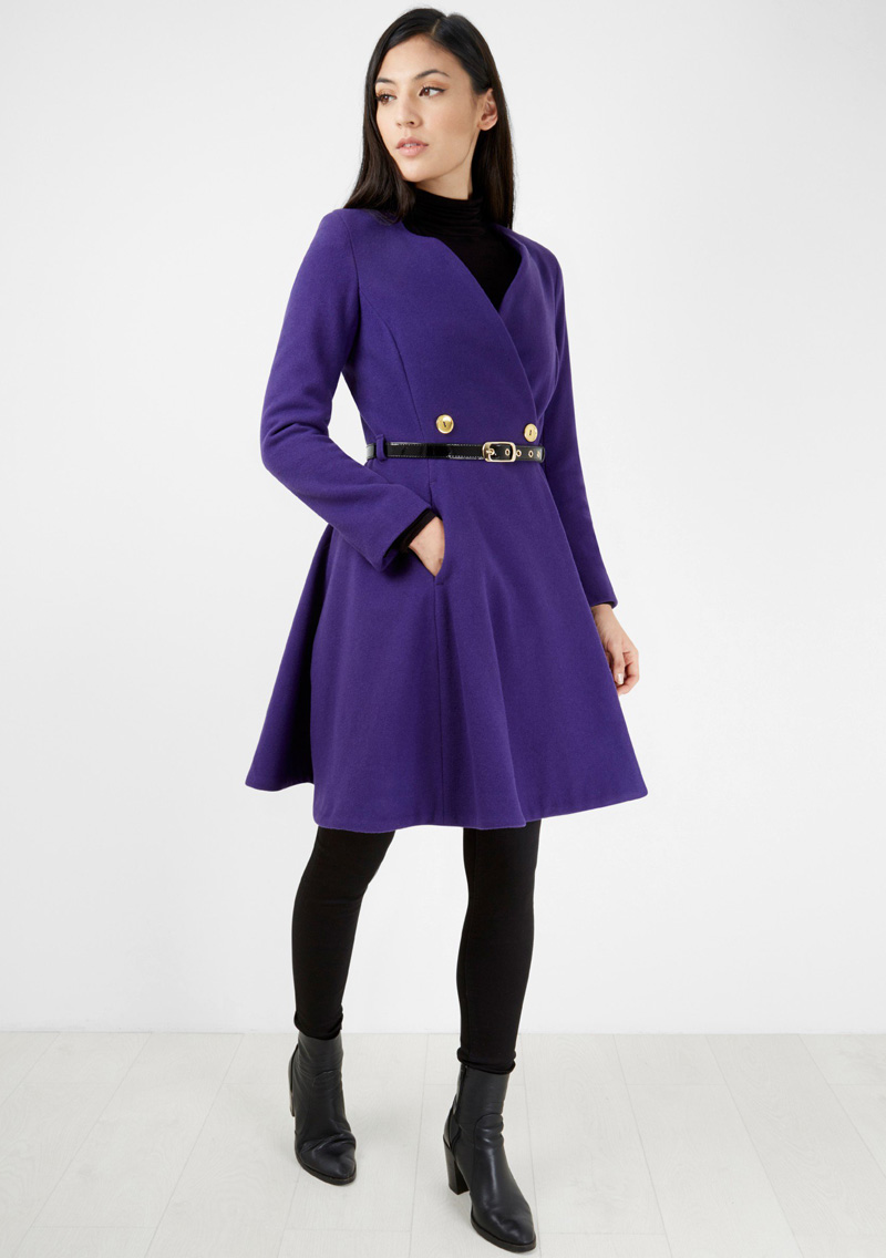 Closet London purple double-breasted coat