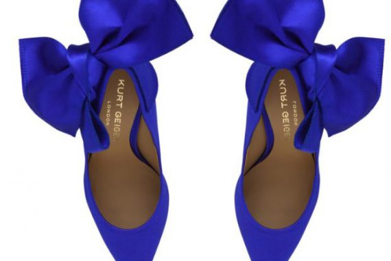 Kurt Geiger 'Evie' bright blue court shoes with bow