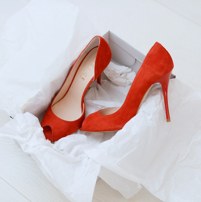 Office 'Niagra' red peep toe heels