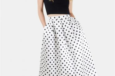 Closet Black and White polka dot skirt