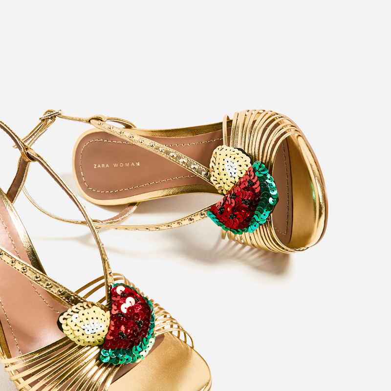 Zara laminated sandals with fruit detail