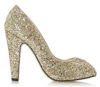 gold glitter peep toes
