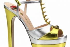 Gucci Angel Metallic Leather Peep-Toe Platform T-Strap Sandals