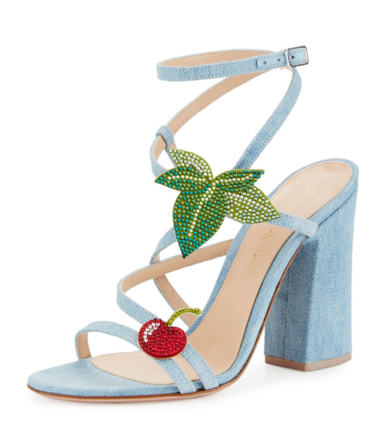 Gianvito Rossi Cherry Denim Strappy Sandals