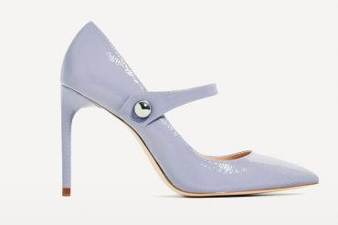 Zara blue patent Mary Jane heels