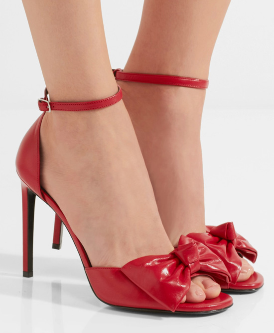 Saint Laurent red bow embellished sandals