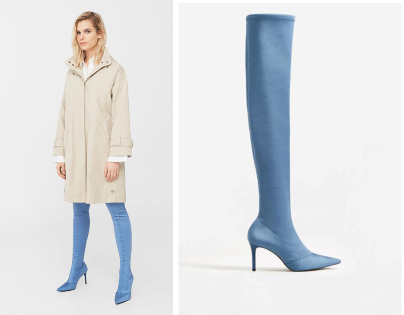 Mango blue over the knee boots