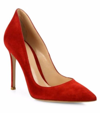 red suede high heels