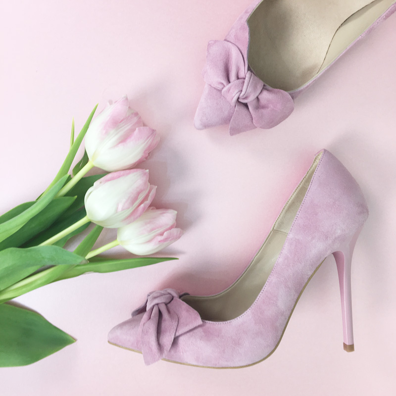 Office 'Hey Girl' pink bow pumps