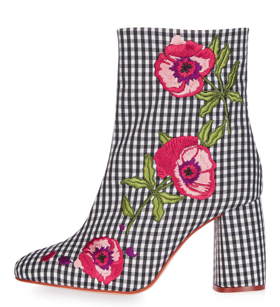 gingham floral ankle boots