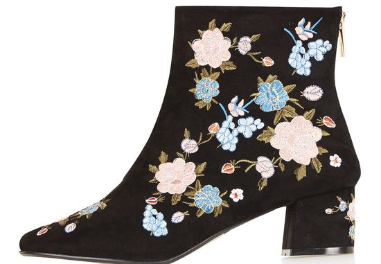 Topshop floral ankle boots