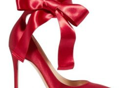 Gianvito Rossi red bow satin pumps