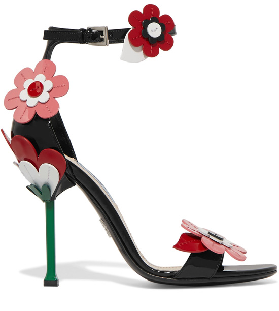 PRADA Floral-appliquéd patent-leather sandals