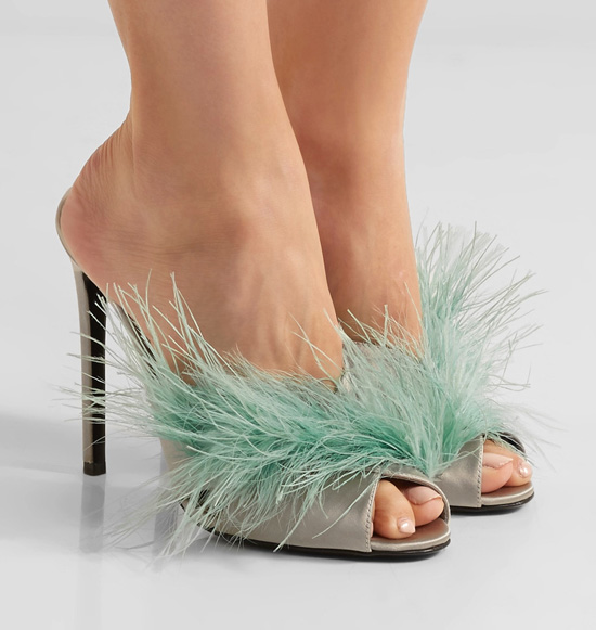 PRADA Feather-embellished satin mules