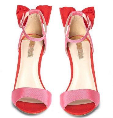 Dorothy Perkins pink and red satin bow shoes