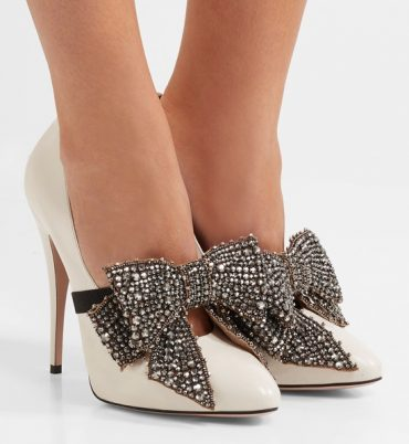 Gucci bow-embellished patent leather pumps